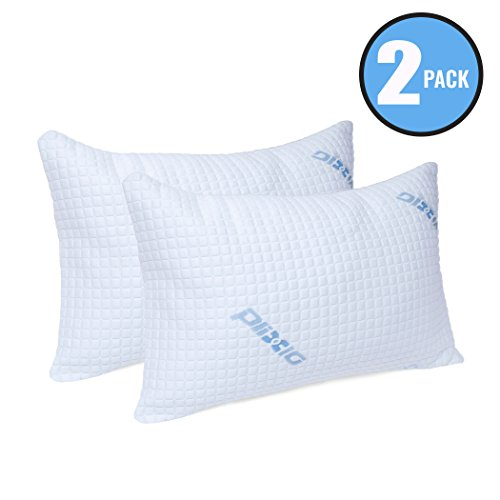 Plixio Deluxe Cooling Shredded Memory Foam Pillow with Bamboo Hypoallergenic Cover- 2 Pack Queen