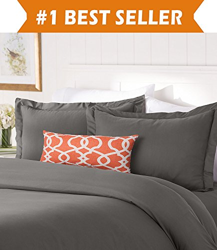 Elegant Comfort #1 Best Bedding Duvet Cover Set! 1500 Thread Count Egyptian Quality Luxurious Silky-Soft WRINKLE FREE 2-Piece Duvet Cover Set, Twin/Twin XL, Gray