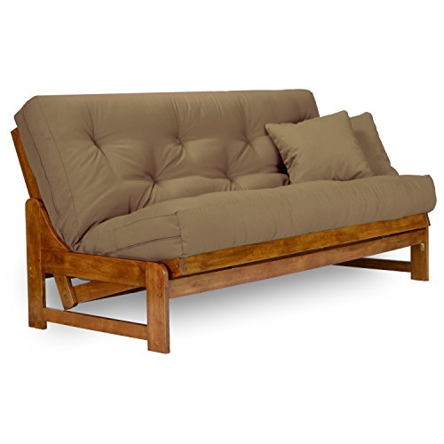 Arden Futon Set – Full Size Futon Frame with Mattress Included (8 Inch Thick Mattress, Twill Khaki Color), More Colors Available, Heavy Duty Wood, Popular Sofa Bed Choice