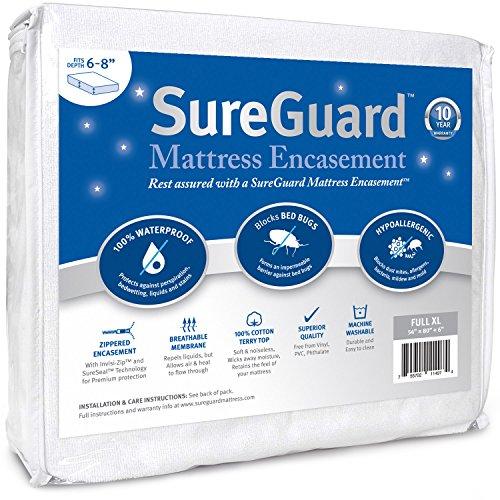 Full XL (6-8 in. Deep) SureGuard Mattress Encasement – 100% Waterproof, Bed Bug Proof, Hypoallergenic – Premium Zippered Six-Sided Cover – 10 Year Warranty