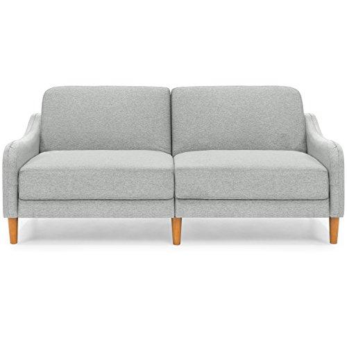 Best Choice Products Mid-Century Modern Linen Futon Sofa (Gray)