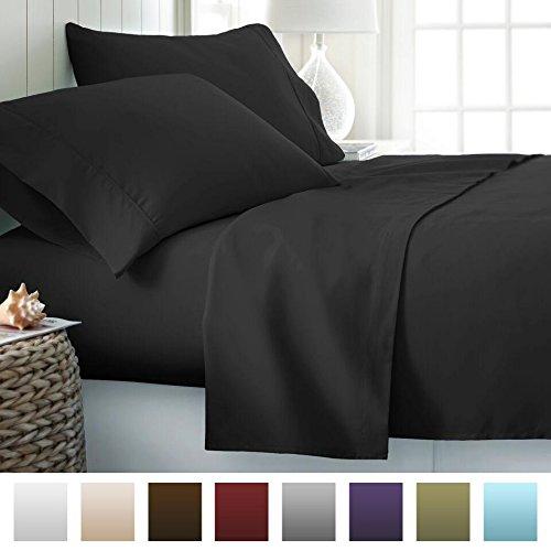 Beckham Hotel Collection 1800 Series Luxury Soft Brushed Microfiber Bed Sheet Set Deep Pocket – Full – Jet Black