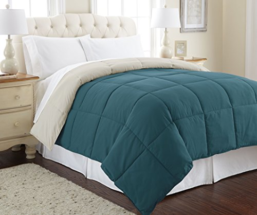Amrapur Overseas | Goose Down Alternative Microfiber Quilted Reversible Comforter / Duvet Insert – Ultra Soft Hypoallergenic Bedding – Medium Warmth for All Seasons – [Queen, Coral Blue/Oatmeal]