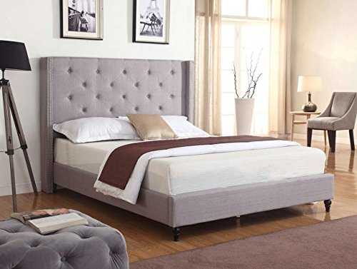 Home Life Premiere Classics Cloth Light Grey Silver Linen 51″ Tall Headboard Platform Bed with Slats Full – Complete Bed 5 Year Warranty Included 007
