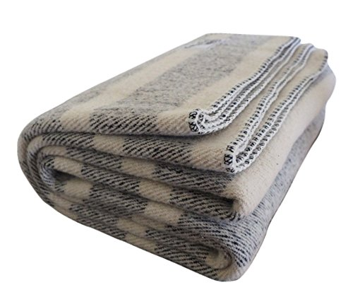 Woolly Mammoth Woolen Company Farmhouse Collection Rainy Day Wool Blanket (Navy/Cream Stripe)