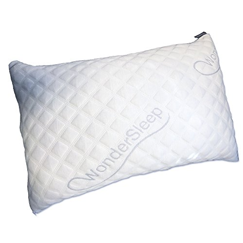 WonderSleep Bed Pillow PREMIUM Adjustable Loft [Queen Size 1 Pack] – Shredded Hypoallergenic Certipur Memory Foam Pillow [Hotel Grade] Washable/Removable Cooling Bamboo Derived Rayon Cover (MB000295)