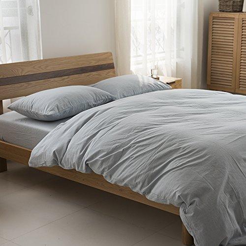 Deep Sleep Home 100% Washed Cotton, Solid Color 3pc Duvet Cover Set, Zipper Close,Machine Washable, Inside Corner Ties (Queen, Light Sky Blue)