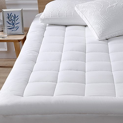 "Mattress Pad Cover-Cotton Top with Stretches to 18"" Deep Pocket Fits Up to 8""-21"" Cooling White Bed Topper (Down Alternative,California King )"