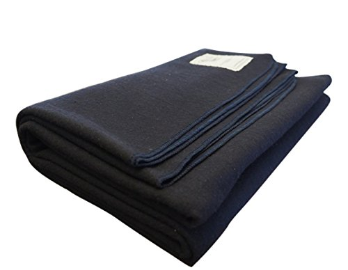 Woolly Mammoth Woolen Company Explorer Collection Wool Blanket (Navy Blue)