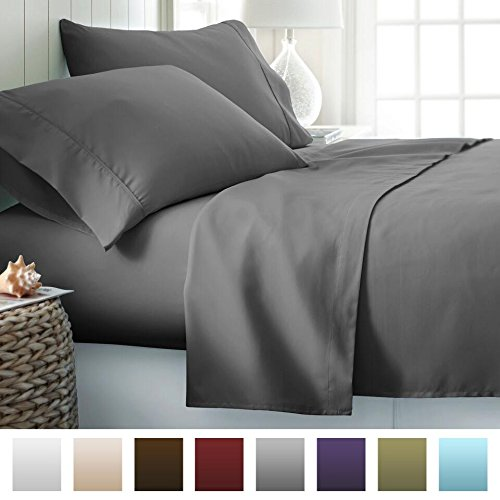 Beckham Hotel Collection 1800 Series Luxury Soft Brushed Microfiber Bed Sheet Set Deep Pocket – King – Slate Gray
