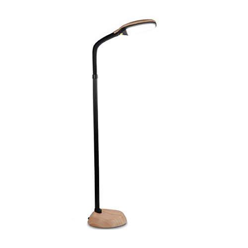 Brightech Litespan LED Reading and Craft Floor Lamp – Dimmable Full Spectrum Natural Daylight Sunlight LED Standing Light with Gooseneck for Living Room Sewing Bedroom Office Task – Natural Wood