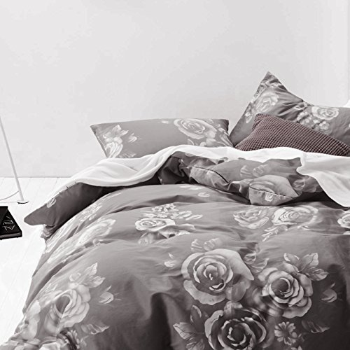 Dark Gray Duvet Cover Set, 100% Cotton Bedding, White Floral Rose Flower Printed on Grey with Zipper Closure (3pcs, King Size)