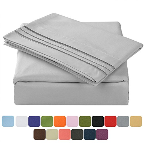 TasteLife 105 GSM Deep Pocket Bed Sheet Set Brushed Hypoallergenic Microfiber 1800 Bedding Sheets Wrinkle, Fade, Stain Resistant – 4 Piece(Grey,Queen)