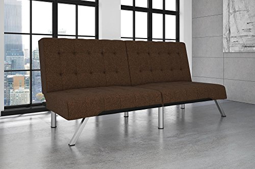 DHP Emily Futon Couch Bed, Modern Sofa Design Includes Sturdy Chrome Legs and Rich Linen Upholstery, Brown