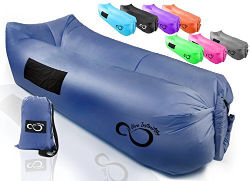 Live Infinitely Inflatable Air Lounger Chair Features Headrest, 2 Pockets, 700 Gauge Inner Liner, 420D Ripstop Exterior & Travel Bag Use On Beach Or In The Pool 9' Long & Holds 500 (Navy Blue)