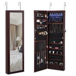 SONGMICS 6 LEDs Jewelry Cabinet Lockable Wall Door Mounted Jewelry Armoire Organizer with Mirror 2 Drawers Brown UJJC93K