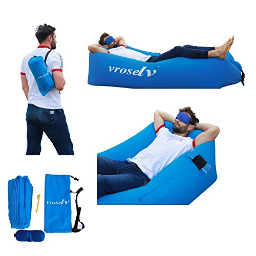 Vroselv Inflatable Lounger and Sofa for Indoor or Outdoor,Holds over 500 Pounds and Lounger Inflates in Seconds without Electricity or Pump Required Use Camping, Hiking, and at Festivals