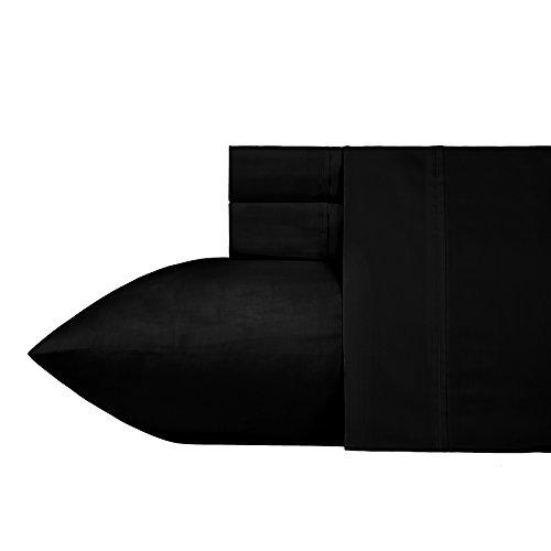 400 Thread Count 100% Cotton Sheet Set, Black Queen Sheet Sets 4 Piece, Long-staple Combed Pure Natural Cotton Bedsheets, Soft & Sateen Weave Sheets Set by California Design Den