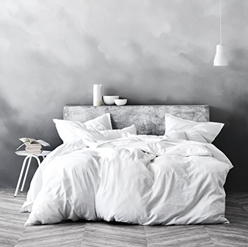 Washed Cotton Chambray Duvet Cover Solid Color Casual Modern Style Bedding Set Relaxed Soft Feel Natural Wrinkled Look (Queen, Winter White)