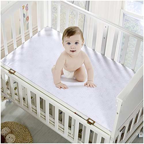 Mellanni Premium Waterproof Crib Mattress Protector – Dust Mite, Bacteria Resistant – Hypoallergenic – Fitted Deep Pocket – Better than Pads, Covers or Toppers (Crib / Toddler Bed)