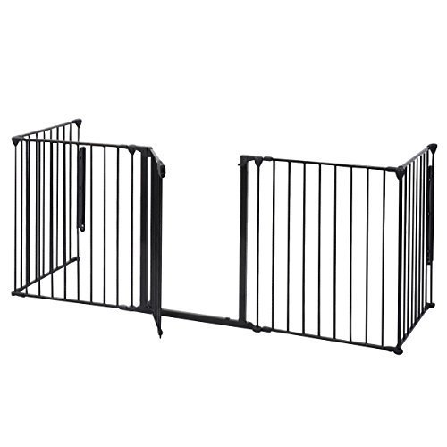 HPD Fireplace Fence Baby Safety Fence Hearth Gate BBQ Metal Fire Gate Pet Dog Cat