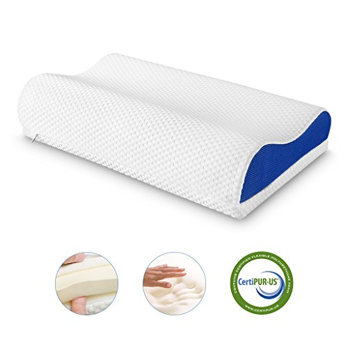LANGRIA Orthopedic Memory Foam Contour Bed Pillow with Adjustable Custom Height Detachable Foam Layer Removable Washable Breathable Mesh Knit Cover Standard Size (1 Removable Loft Layer, White&Blue)