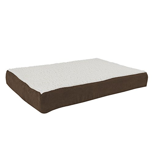 Orthopedic Sherpa Top Pet Bed with Memory Foam and Removable Cover  30×20.5×4 Brown by PETMAKER