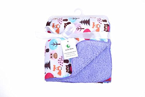 Genio Baby Sherpa Fleece Baby Blanket Unisex 30 x 40 Soft- Perfect For Swaddling and Strolling- Fluffy For Boys and Girls (Purple)