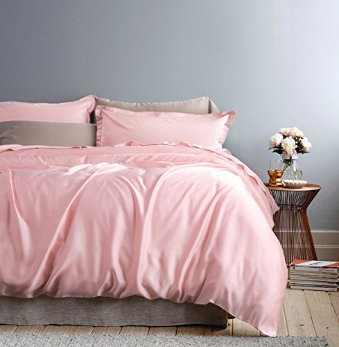 Solid Color Egyptian Cotton Duvet Cover Luxury Bedding Set High Thread Count Long Staple Sateen Weave Silky Soft Breathable Pima Quality Bed Linen (King, Cotton Candy)
