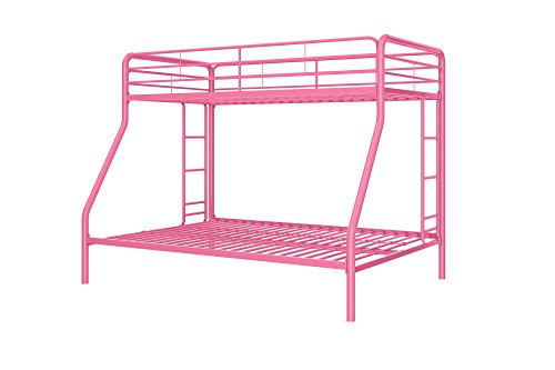DHP Twin-Over-Full Bunk Bed with Metal Frame and Ladder, Space-Saving Design, Pink
