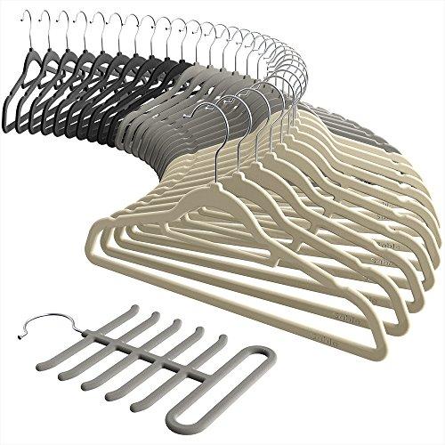 Velvet Hangers, Sable Ultra thin Space Saving Suit Hangers Non Slip Heavy Duty, 360 Degree Swivel Hook – 30 Pack – Black, Beige, Grey including a Tie Organizer