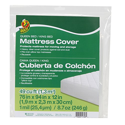 Duck Brand 1140236 King or Queen Sized Mattress Cover, 76″ x 94″ x 12″, Clear