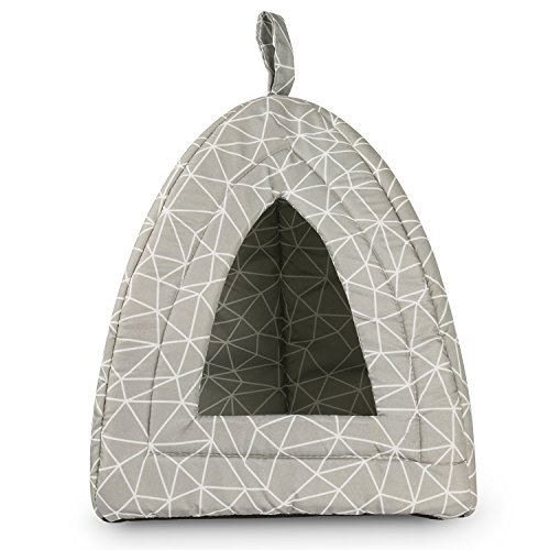 12 × 12 × 17 inches Hollypet Self-warming Comfortable Triangle Cat Bed Tent House, Gray Triangle