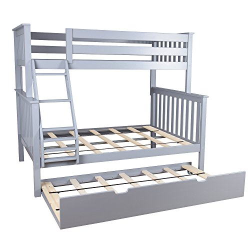 Max & Lily Solid Wood Twin over Full Bunk Bed with Trundle Bed, Grey