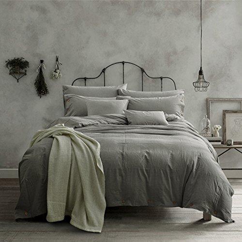 Doffapd Duvet Cover King, Washed Cotton Duvet Cover Set – 3 Piece (King, Light Gray)