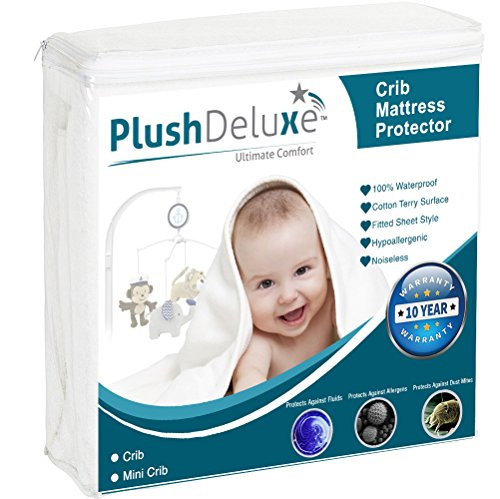 Mini Crib Size Premium 100% Waterproof Mattress Protector Hypoallergenic, Vinyl Free, Breathable Soft Cotton Terry Surface – 10 Year Warranty From PlushDeluxe