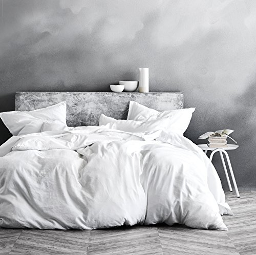 Washed Cotton Chambray Duvet Cover Solid Color Casual Modern Style Bedding Set Relaxed Soft Feel Natural Wrinkled Look (Queen, White)