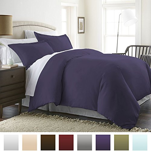 Beckham Hotel Collection Luxury Soft Brushed 1800 Series Microfiber Duvet Cover Set – Hypoallergenic – Full/Queen, Eggplant