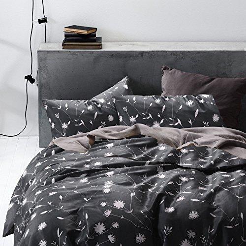 100% Cotton, 3pcs Dark Gray Duvet Cover Set, White Floral/Flower Printed Bedding (King Size)