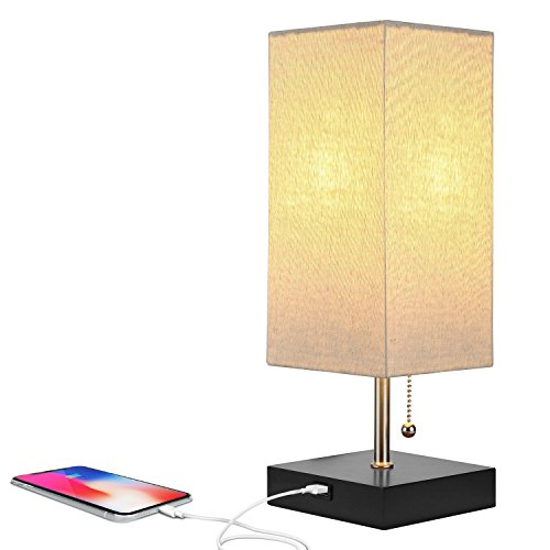 Brightech Grace LED USB Bedside Table & Desk Lamp – Modern Lamp with Soft, Ambient Light, Unique Lampshade & Functional USB Port – Perfect for Table in Bedroom, Living Room, or Office – Black