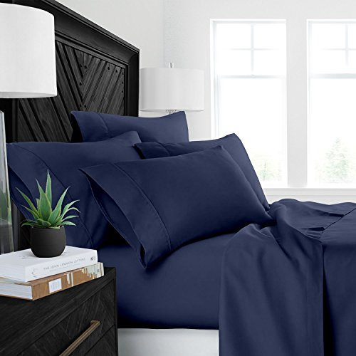 Sleep Restoration Luxury Bed Sheets with All-Natural Pure Aloe Vera Treatment – Eco-Friendly, Hypoallergenic Sheet & Pillowcase Set Insfused with Soothing/Moisturizing Aloe Vera -King – Navy
