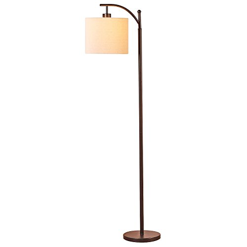 Brightech Montage LED Floor Lamp- Classic Arc Floor Lamp with Hanging Lamp Shade – Tall Industrial Uplight Lamp for Living Room, Family Room, Office or Bedroom, Energy Saving and Long Lasting- Bronze