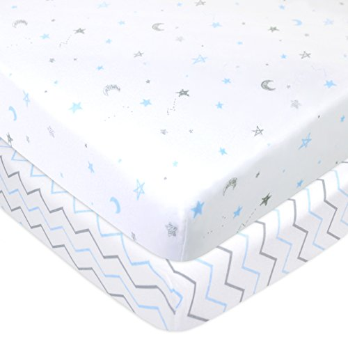 American Baby Company 2 Piece Printed 100% Cotton Jersey Knit Fitted Portable/Mini-Crib Sheet,Blue Stars/Zigzag