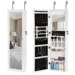 SONGMICS 18 LEDs Jewelry Cabinet Lockable Mirrored Wall Door Mounted Jewelry Armoire Organizer White UJJC85W
