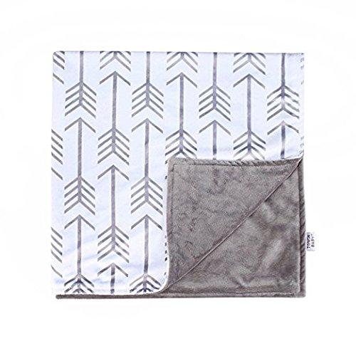 Towin Baby Arrow Minky Double Layer Receiving Blanket, Grey 30″x30″ …