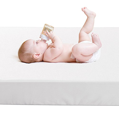 Crib Mattress Protector,BROLEX Baby Crib Mattress Cover,White Terry ,Safety Padded,Breathable,Ultra Absorbent,Fitted Sheet Style
