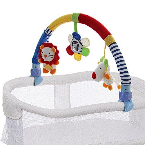 SHILOH Baby Travel Play Arch Stroller Crib Pram Activity Bar with Rattle Squeak Mirror, Lion Giraffe