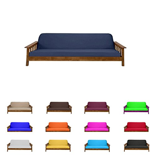 Futon Mattress Cover Solid Color Choose Color and Size Twin Full Queen (Twin (6″x39″x75″), Navy)