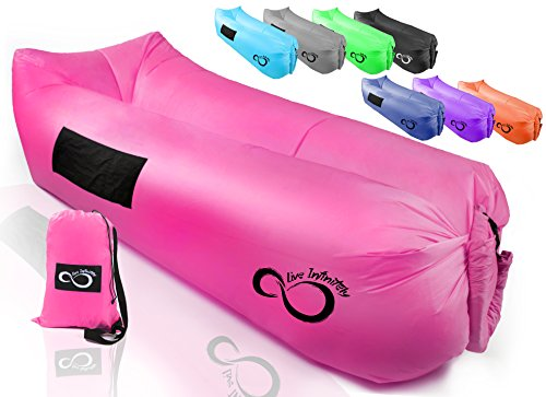 Live Infinitely Inflatable Air Lounger Chair Features Headrest, 2 Pockets, 700 Gauge Inner Liner, 420D Ripstop Exterior & Travel Bag Use On Beach Or In The Pool 9' Long & Holds 500 (Bright Pink)