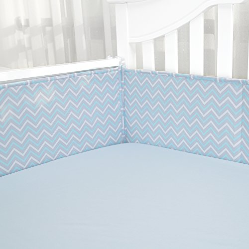 Baby Shower Gift-Breathable Crib Bumper Pads/Padded Crib Liner for Standard Baby Cribs, Premium Woven Cotton and Microfiber Fill-in, 4 Piece Blue Gray Zigzag Chevron by TILLYOU